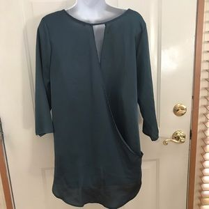 LARGE  TEAL DRAPE open back 3/4 sleeve top